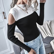 Two Tone Cut Out Sweater