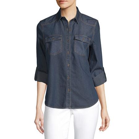 a.n.a Womens Long Sleeve Regular Fit Button-Down Shirt, Medium , Blue