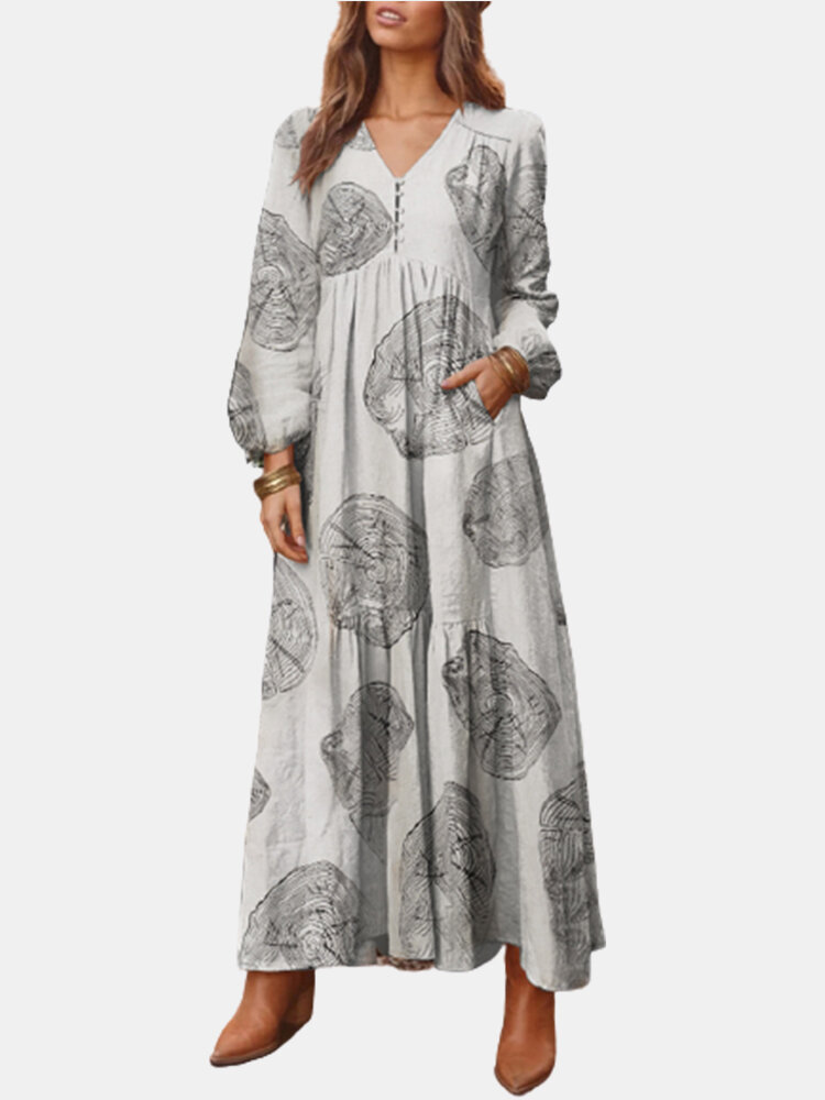Casual Wood Grain Print V-neck Plus Size Dress with Pockets