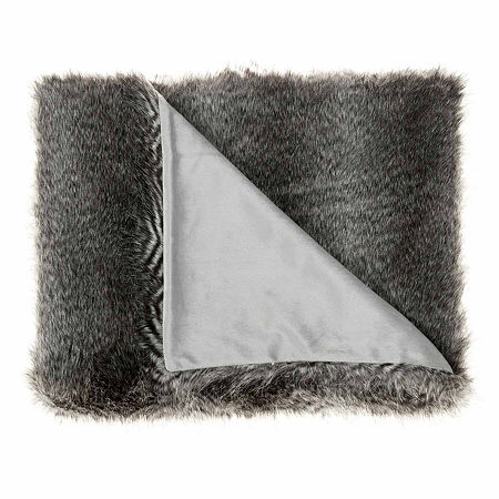 West Park Faux Fur Acrylic Faux Fur Reversible Midweight Throw, One Size , Gray