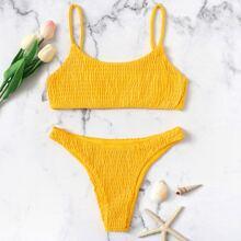 Smocked Low Rise Bikini Swimsuit