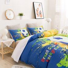 Set de cama de niños con estampado de futbol sin relleno