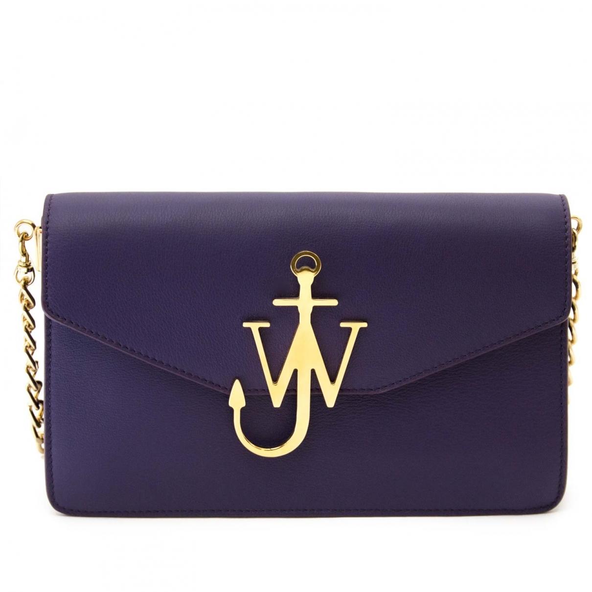 J.w. Anderson Logo Handtasche in  Lila Leder