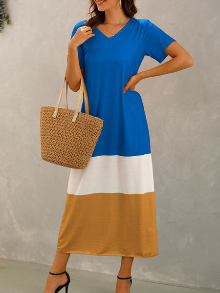 Milanoo Oversized Maxi Dresses Short Sleeves Color Block Cotton Blend Summer Dress