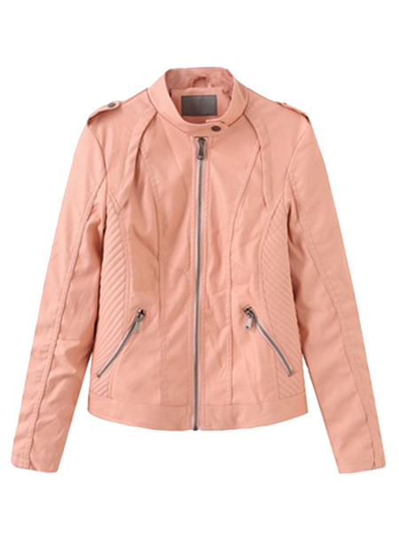 Milanoo Women Short Jacket Brown Stand Collar Long Sleeve PU Leather Motorcycle Jacket