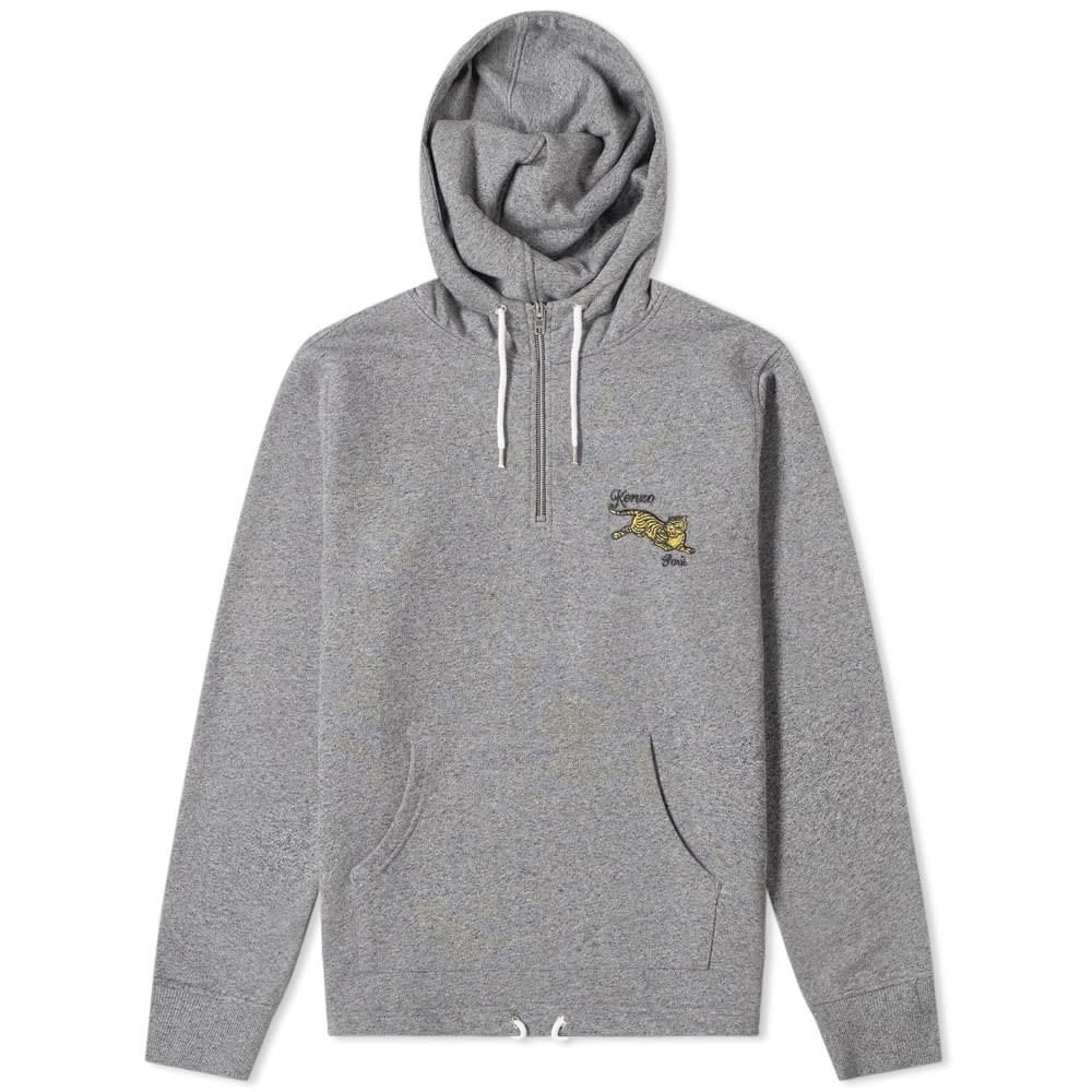 Kenzo Jumping Tiger Half Zip Hoodie Colour: GREY, Size: LARGE
