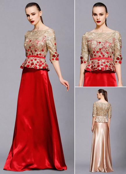Milanoo Maxi vestido de noche Illusion Half-Sleeve A-Line Applique Lace rebordear palabra de longitud vestidos de invitados de boda