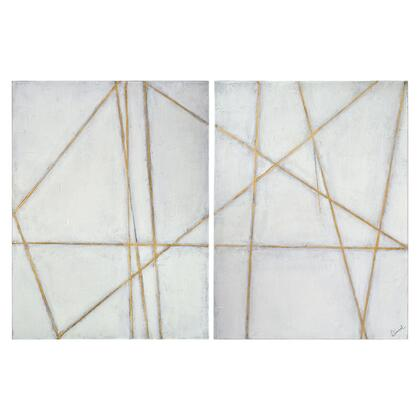 Glacier Collection OL1656 Set of 2 Painting by Renwil with Rectangle Shape  Vertical Hanging Direction  Handpainted and Canvas Material in Gold Leaf