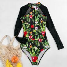 Einteiliger Badeanzug mit tropischem & Blumen Muster und Reissverschluss