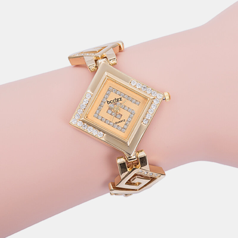 Trendy Elegant Women Watch Diamond Steel Band Unique Rhombus Quartz Bracelet Watch