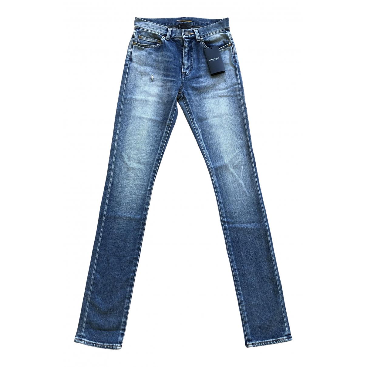 Saint Laurent \N Blue Cotton - elasthane Jeans for Women 24 US