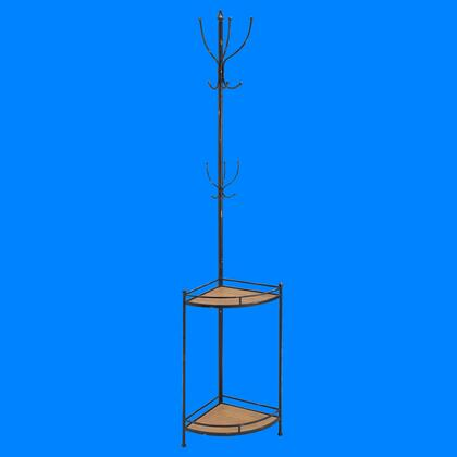 AHW806AS1 Coat Rack with Iron and Fir Wood Frame in Black  Brown