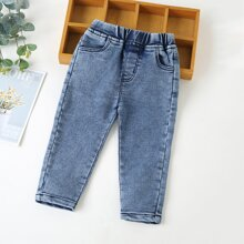 Toddler Boys Solid Elastic Waist Jeans
