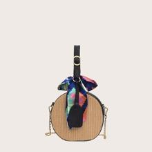 Bolsa caja trenzada con pañuelo