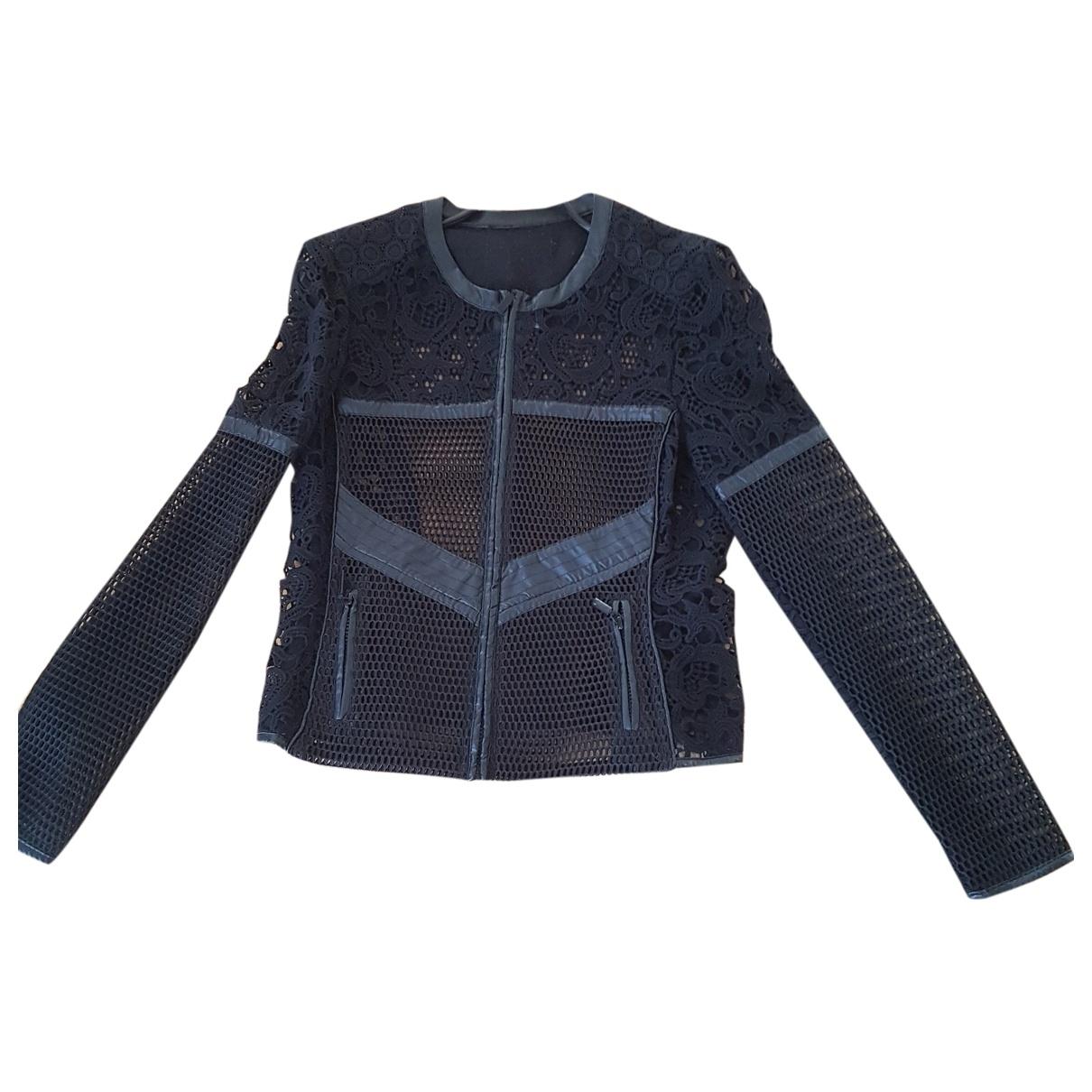 Adolfo Dominguez \N Black Cotton Leather jacket for Women 42 FR