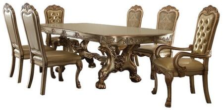 Dresden Collection 631507TC 7 PC Dining Room Set withDining Table + 4 Side Chairs + 2 Arm Chairs in Gold Patina
