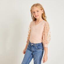 Blusas para niñas Transparente Lunares Casual