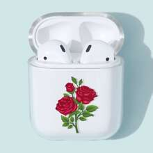 1pc Flower Print Clear AirPods Case