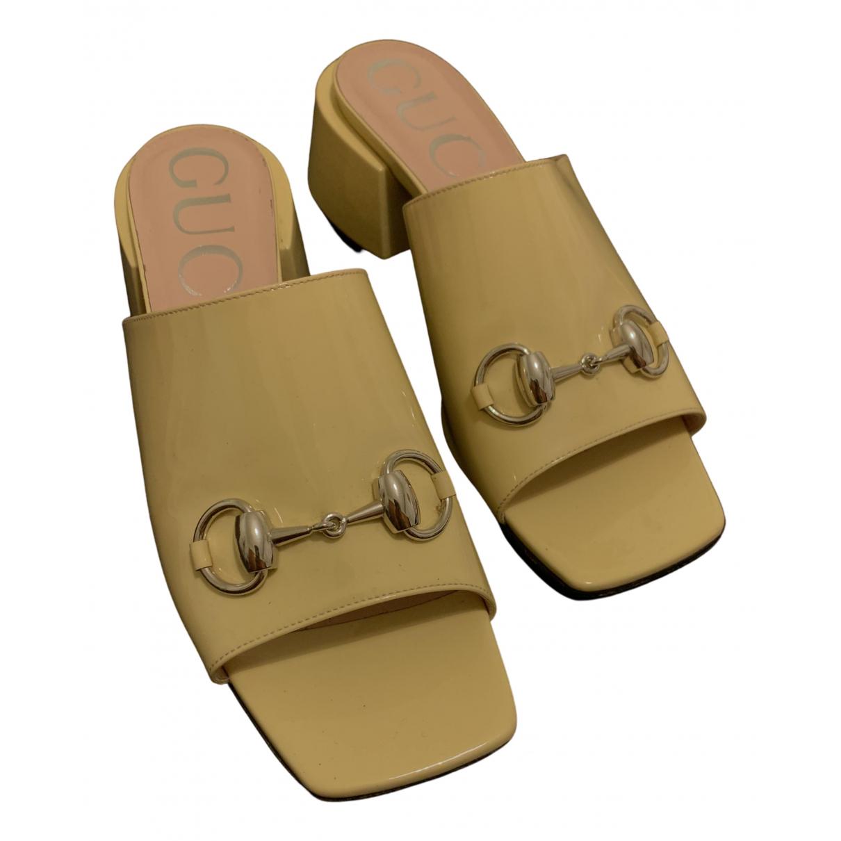 Gucci - Sandales   pour femme en cuir verni - ecru