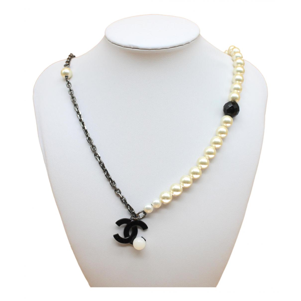Chanel CC Kette in  Weiss Perlen