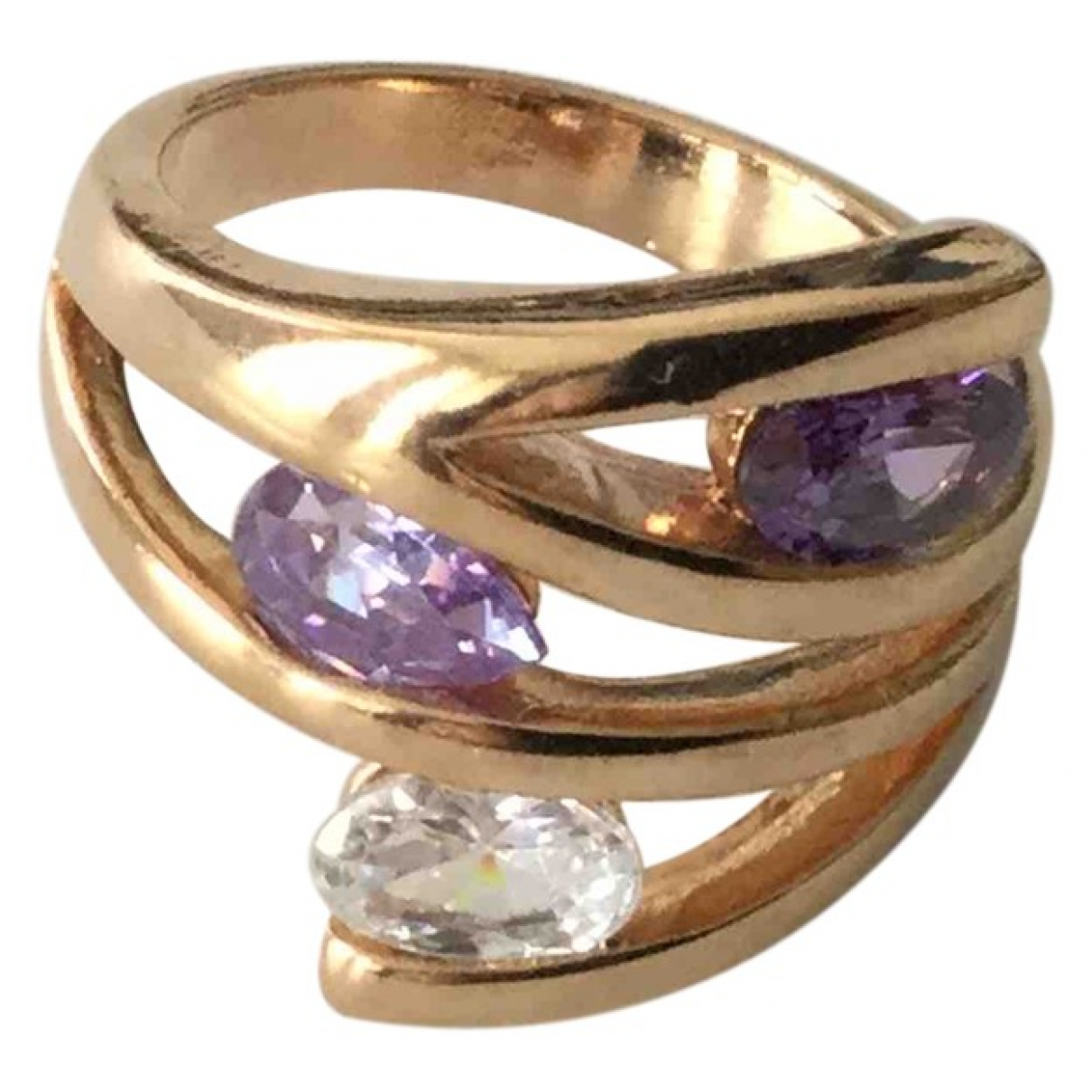 Non Signé / Unsigned Améthyste Purple Gold plated ring for Women \N