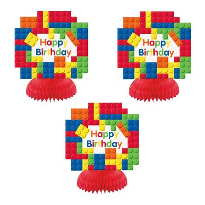 Building Blocks Birthday Mini Honeycomb Centerpieces, 3ct For Birthday Party