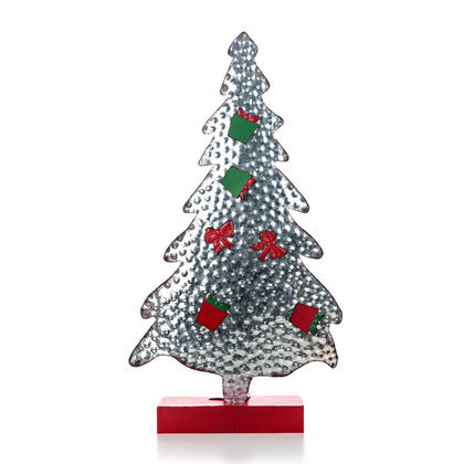 Chirstmas Galvanized Photo Tree with Ornament Magnets, 13
