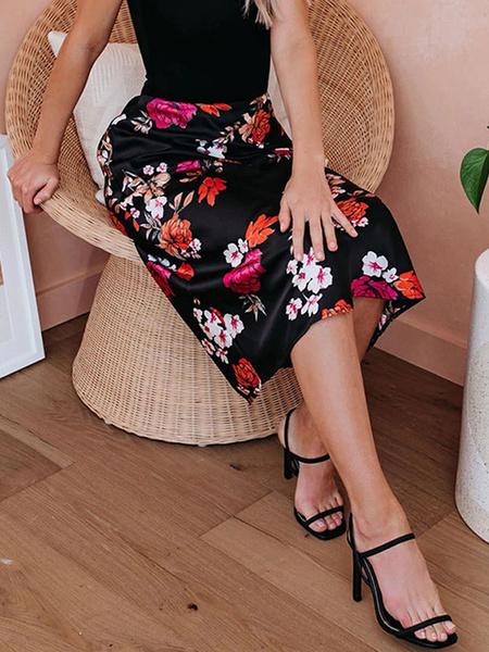 Milanoo Vestido de verano Cuello joya Mangas cortas Estampado floral Vestido negro de playa