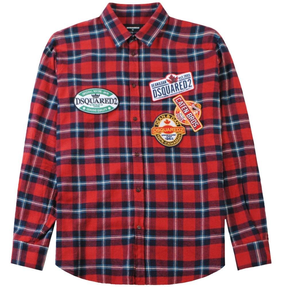 Dsquared2 Dsq2 Label Pattern Shirt Colour: RED, Size: LARGE