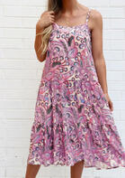 Floral Ruffled Spaghetti Strap Casual Dress without Necklace