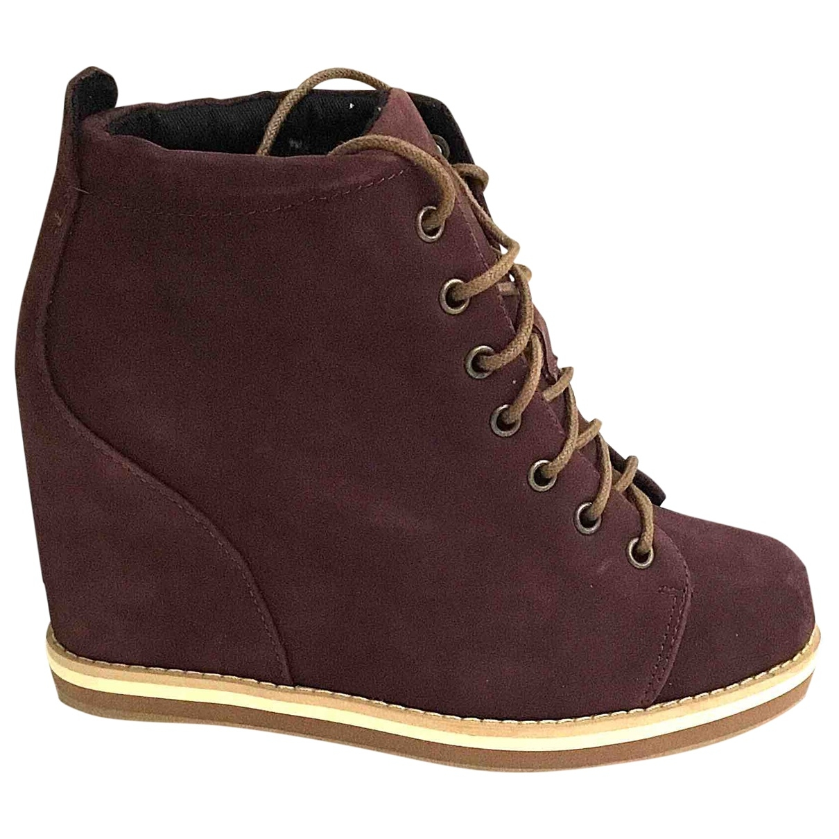 Non Signé / Unsigned \N Burgundy Suede Ankle boots for Women 37 EU
