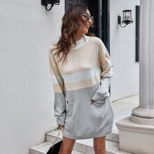 Vestidos de Punto Bolsillo Monocolor Casual