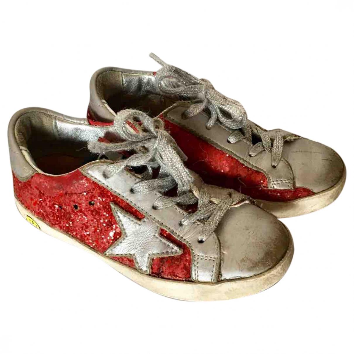 Golden Goose Ball Star Sneakers in  Rot Leder