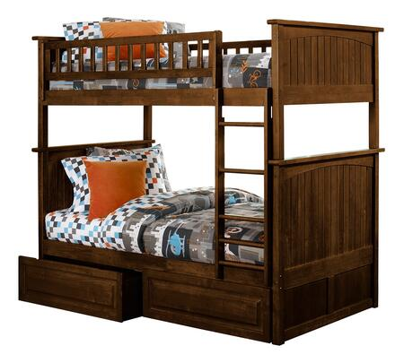 Nantucket Collection AB59124 Twin Over Twin Size Bunk Bed with 2 Raised Panel Bed Drawers  Ladder Included  Lead-free  Casters and Solid Wood