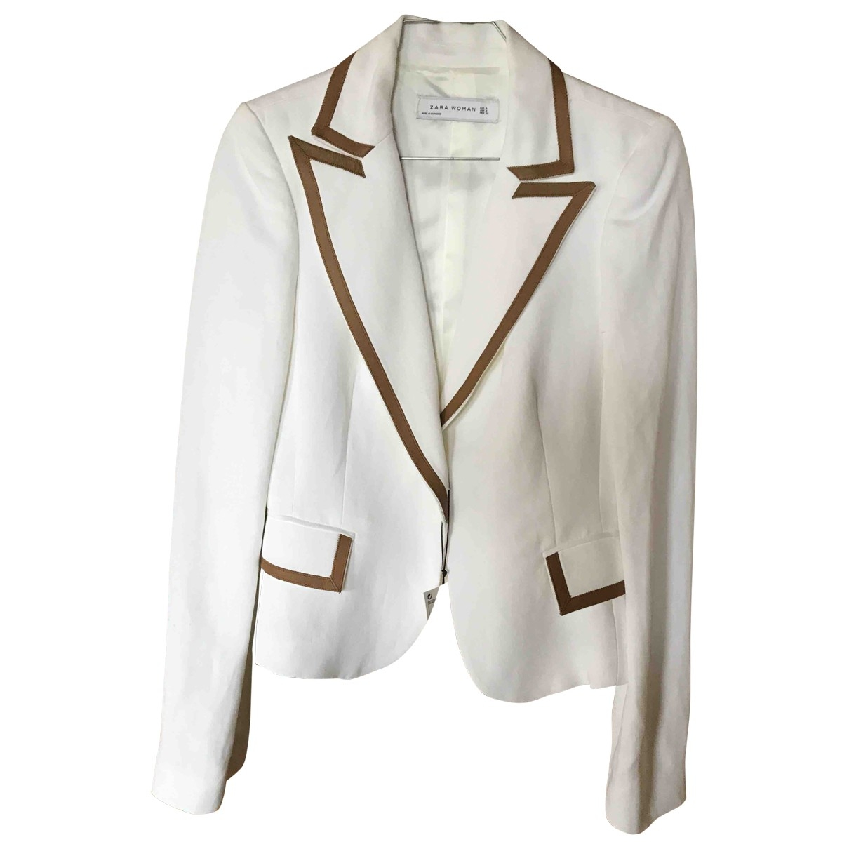 Zara - Veste   pour femme en lin - blanc