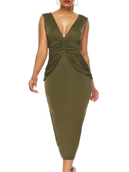 Milanoo Vestidos ajustados Vestido sin mangas con cuello en V informal sin mangas verde cazador Vestido tubo