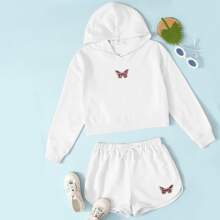 Girls Butterfly Embroidery Hoodie & Track Shorts Set