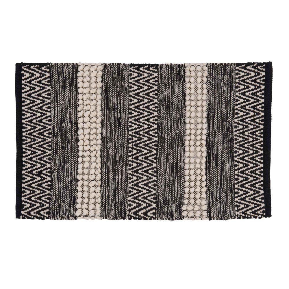 Baumwollteppich mit Streifen in Ecru und Schwarz 50x80