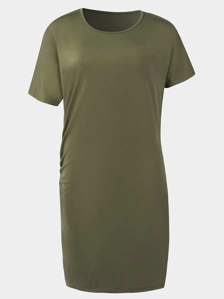 Yoins Green Pleated Design Plain Dress With Knee Length