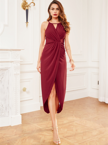 YOINS Burgundy Smocking Wrap Design Split Hem Sleeveless Dress