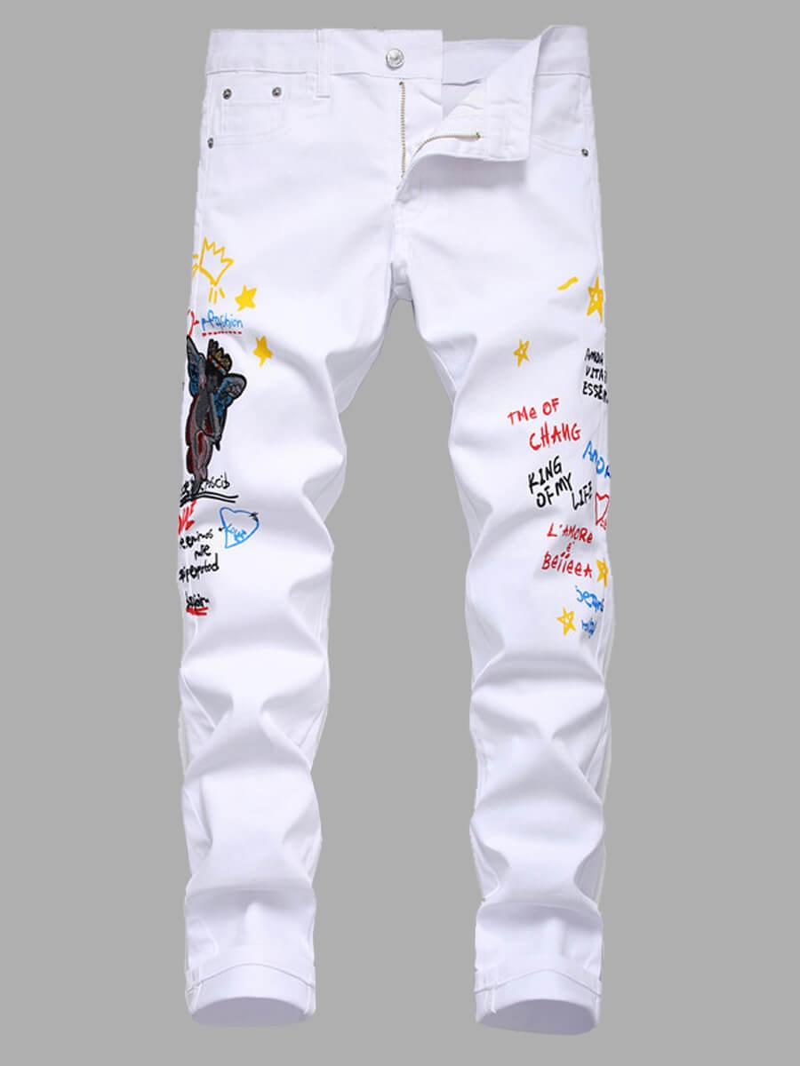 LW Lovely Trendy Letter Print White Men Jeans