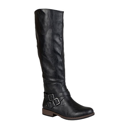Journee Collection Womens April Wide Calf Riding Boots, 7 1/2 Medium, Black