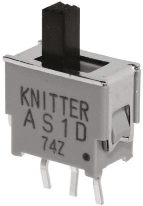 KNITTER-SWITCH PCB Slide Switch Double Pole Double Throw (DPDT) Latching 50 mA@ 48 V dc Slide