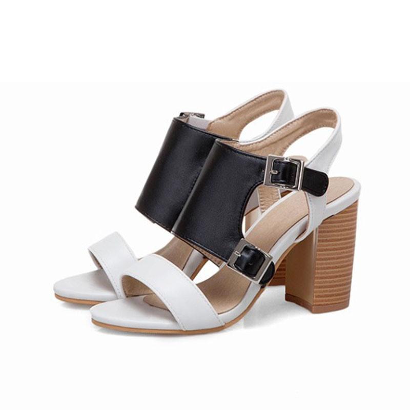 Ericdress Chunky Heel Open Toe Buckle Patchwork Sandals