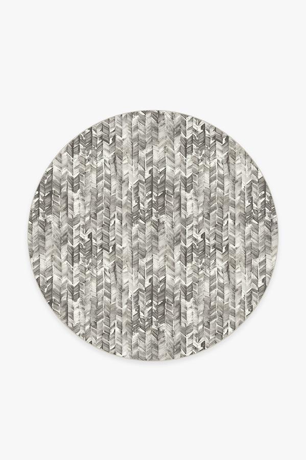 Washable Rug Cover | Watercolor Herringbone Grey Rug | Stain-Resistant | Ruggable | 6' Round