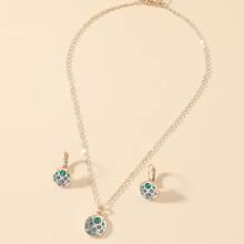 3 piezas set joya con diamante de imitacion