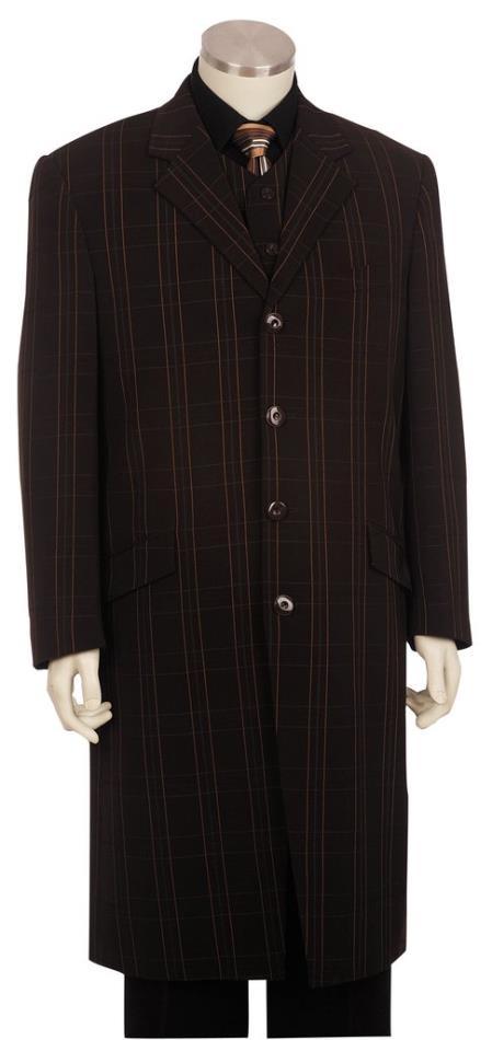 Mens Button Fastener Brown Long 3pc Suit and Pants