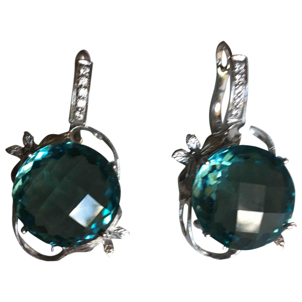 Non Signé / Unsigned Dormeuses Blue Silver Earrings for Women \N