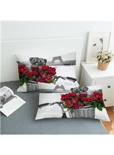 A Bouquet of Roses By The Eiffel Tower Reactive Printing 2-Piece Polyester Pillowcase