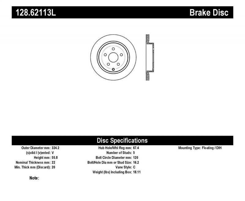 StopTech 128.62113L Sport Cross Drilled Brake Rotor; Rear Left Rear Left